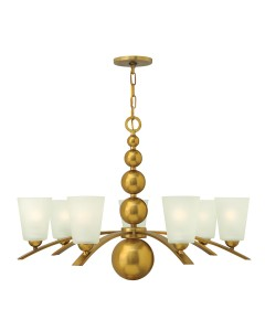 Elstead Lighting Hinkley Zelda 7 Light Chandelier In Vintage Brass Finish With Frosted Shades