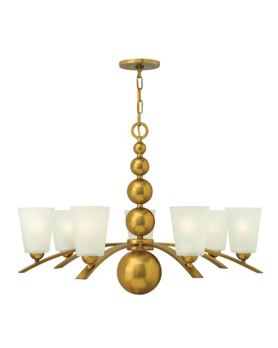 Elstead Lighting Hinkley Zelda 7 Light Chandelier In Vintage Brass Finish With Frosted Shades