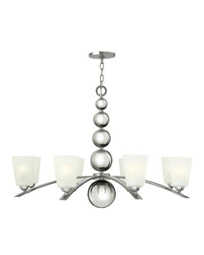 Elstead Lighting Hinkley Zelda 8 Light Chandelier In Polished Nickel Finish With Frosted Shades