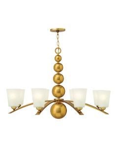 Elstead Lighting Hinkley Zelda 8 Light Chandelier In Vintage Brass Finish With Frosted Shades