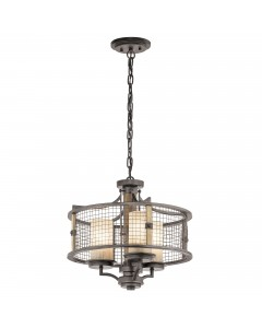 Elstead Lighting Kichler Ahrendale 3 Light Duo-Mount Chandelier In Anvil Iron Finish With 3 Vetro Mica Shades
