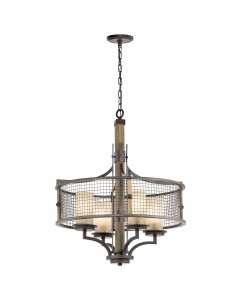 Elstead Lighting Kichler Ahrendale 4 Light Chandelier In Anvil Iron Finish With 4 Vetro Mica Shades