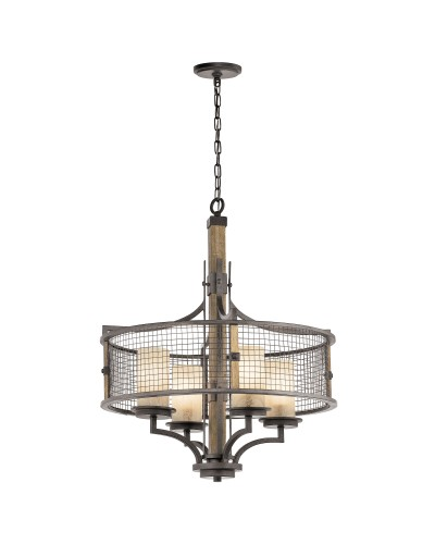 Kichler Ahrendale 4 Light Chandelier In Anvil Iron Finish With 4 Vetro Mica Shades