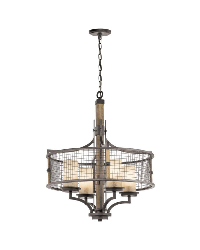 Kichler ahrendale 4 light chandelier in anvil iron finish with 4 kichler ahrendale 4 light chandelier in anvil iron finish with 4 vetro mica shades aloadofball Image collections