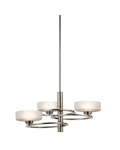 Kichler Aleeka 3 Light Chandelier In Classic Pewter Finish With Height Adjustable Rods
