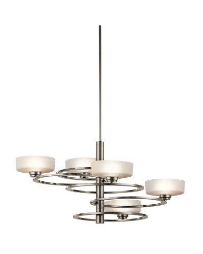 Kichler Aleeka 5 Light Chandelier In Classic Pewter Finish With Height Adjustable Rods