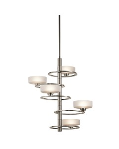 Elstead Lighting Kichler Aleeka 5 Light Vertical Chandelier In Classic Pewter Finish With Height Adjustable Rods