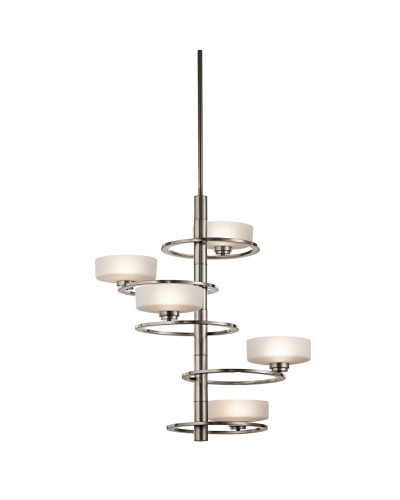 Kichler Aleeka 5 Light Vertical Chandelier In Classic Pewter Finish With Height Adjustable Rods