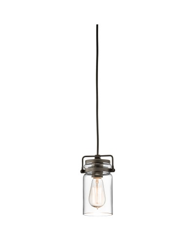 Kichler Brinley 1 Light Mini Pendant In Olde Bronze Finish With Height Adjustable Cord
