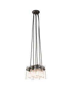 Elstead Lighting Kichler Brinley 6 Light Pendant In Olde Bronze Finish With Height Adjustable Cords