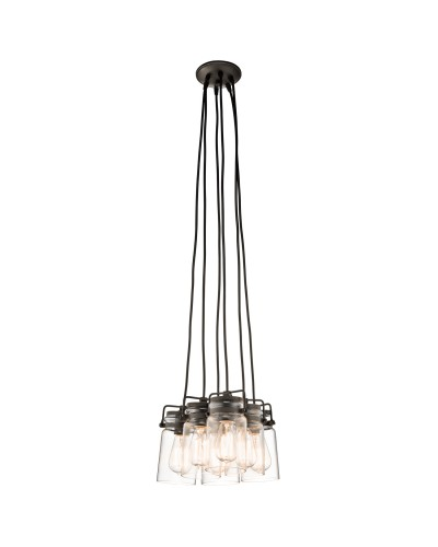 Kichler Brinley 6 Light Pendant In Olde Bronze Finish With Height Adjustable Cords