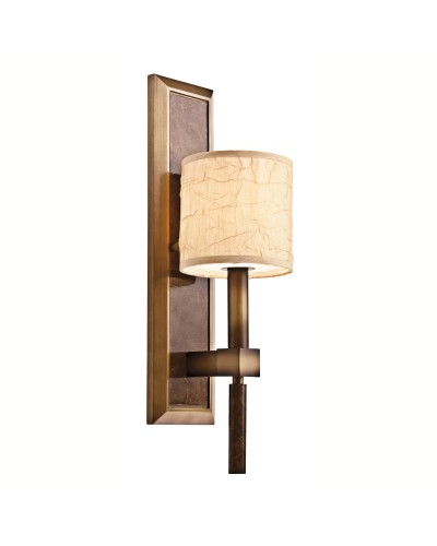 Kichler Celestial 1 Light Wall Light In Cambridge Bronze Finish With Crinkle Fabric Shade