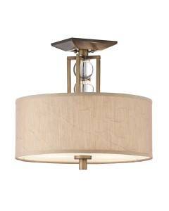 Kichler Celestial 3 Light Semi-Flush Ceiling Light In Cambridge Bronze Finish With Crinkle Fabric Shade
