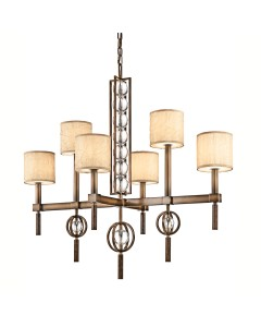 Kichler Celestial 6 Light Rectangular Chandelier In Cambridge Bronze Finish With Crinkle Fabric Shades