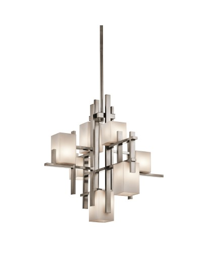 Kichler City Lights 7 Light Chandelier In Classic Pewter Finish With Height Adjustable Rods