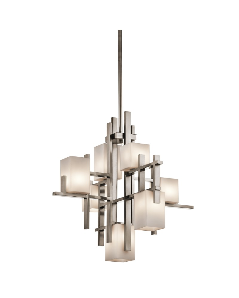 kichler city lights 7 light chandelier in classic pewter finish with