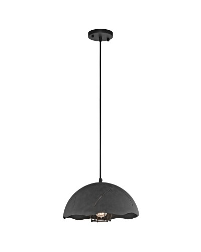 Elstead Lighting Kichler Fracture 1 Light Small Pendant In Weathered Zinc Finish With Height Adjustable Cord