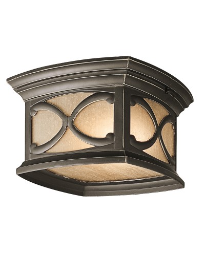 Elstead Lighting Kichler Franceasi 2 Light Outdoor Flush Ceiling Mount In Olde Bronze Finish