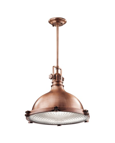 Elstead Lighting Kichler Hatteras Bay 1 Light Extra Large Pendant In Antique Copper Finish With Height Adjustable Rods