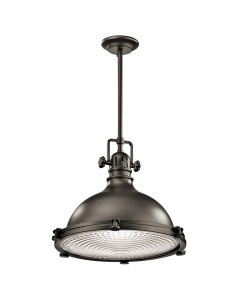 Elstead Lighting Kichler Hatteras Bay 1 Light Large Pendant In Olde Bronze Finish With Height Adjustable Rods