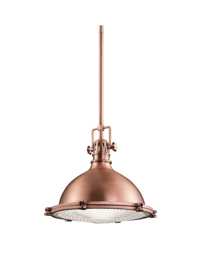 Elstead Lighting Kichler Hatteras Bay 1 Light Medium Pendant In Antique Copper Finish With Height Adjustable Rods