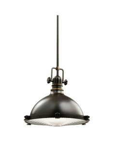 Elstead Lighting Kichler Hatteras Bay 1 Light Medium Pendant In Olde Bronze Finish With Height Adjustable Rods