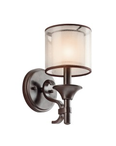 Elstead Lighting Kichler Lacey 1 Light Wall Light In Mission Bronze Finish With Avant-Garde Double Shade
