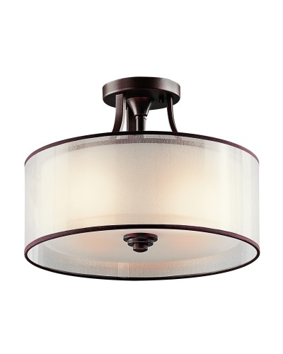 Elstead Lighting Kichler Lacey 3 Light Semi-Flush Ceiling Light In Mission Bronze Finish With Avant-Garde Double Shade