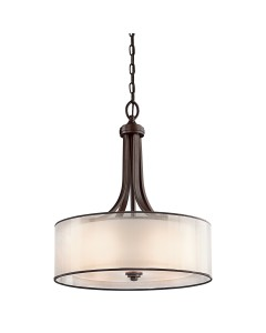 Elstead Lighting Kichler Lacey 4 Light Pendant In Mission Bronze Finish With Avant-Garde Double Shade