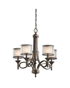 Elstead Lighting Kichler Lacey 5 Light Chandelier In Mission Bronze Finish With Avant-Garde Double Shades