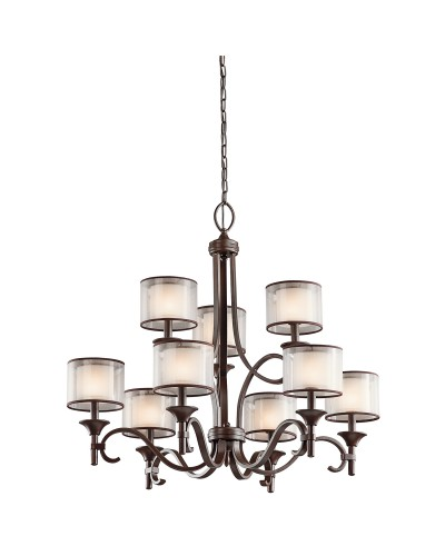 Elstead Lighting Kichler Lacey 9 Light Chandelier In Mission Bronze Finish With Avant-Garde Double Shades