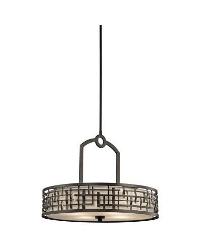 Elstead Lighting Kichler Loom 4 Light Pendant In Olde Bronze Finish With Height Adjustable Rods