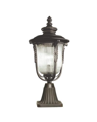 Elstead Lighting Kichler Luverne 1 Light Outdoor Pedestal Lantern In Rubbed Bronze Finish