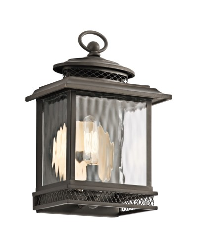 Elstead Lighting Kichler Pettiford 1 Light Outdoor Small Wall Lantern In Olde Bronze Finish
