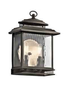 Elstead Lighting Kichler Pettiford 2 Light Outdoor Medium Wall Lantern In Olde Bronze Finish