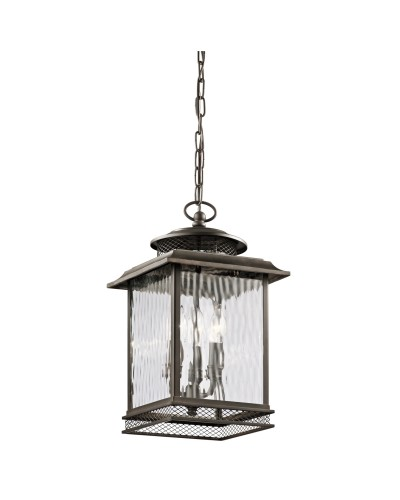 Elstead Lighting Kichler Pettiford 3 Light Outdoor Large Chain Lantern In Olde Bronze Finish