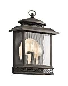 Elstead Lighting Kichler Pettiford 3 Light Outdoor Large Wall Lantern In Olde Bronze Finish