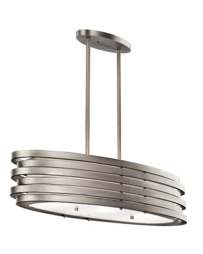 Elstead Lighting Kichler Roswell 3 Light Oval Island Pendant In Brushed Nickel Finish With Height Adjustable Rods