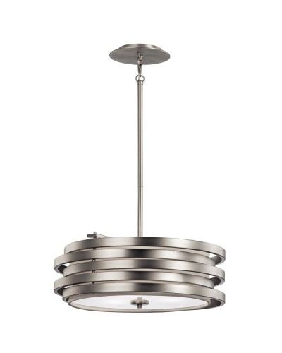 Elstead Lighting Kichler Roswell 3 Light Pendant In Brushed Nickel Finish With Height Adjustable Rods