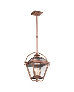 Elstead Lighting Kichler Ryegate 2 Light Pendant In Antique Copper Finish With Height Adjustable Rods
