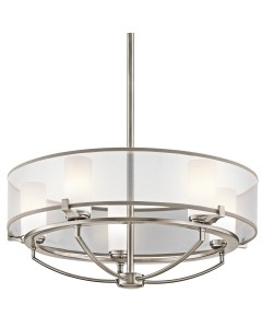 Elstead Lighting Kichler Saldana 5 Light Round Chandelier In Classic Pewter Finish With Height Adjustable Rods