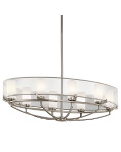 Elstead Lighting Kichler Saldana 8 Light Oval Chandelier In Classic Pewter Finish With Height Adjustable Rods