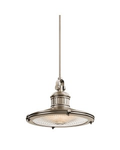 Elstead Lighting Kichler Sayre 1 Light Large Pendant In Antique Pewter Finish With Height Adjustable Rods