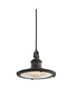 Elstead Lighting Kichler Sayre 1 Light Large Pendant In Olde Bronze Finish With Height Adjustable Rods
