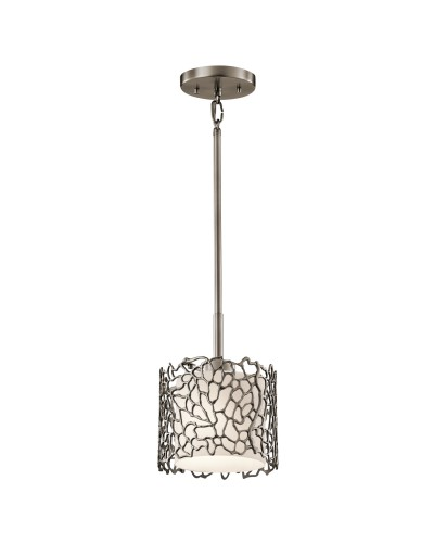 Elstead Lighting Kichler Silver Coral 1 Light Mini Pendant In Classic Pewter Finish With Height Adjustable Rods