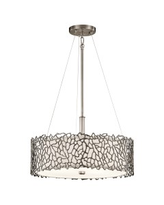 Elstead Lighting Kichler Silver Coral 3 Light Duo-Mount Pendant In Classic Pewter Finish With Height Adjustable Rods