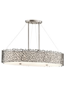Elstead Lighting Kichler Silver Coral 4 Light Oval Island Pendant In Classic Pewter Finish With Height Adjustable Rods