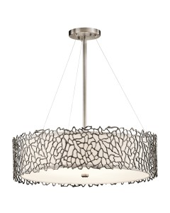 Elstead Lighting Kichler Silver Coral 4 Light Pendant In Classic Pewter Finish With Height Adjustable Rods