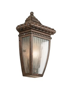 Elstead Lighting Kichler Venetian Rain 1 Light Outdoor Half Wall Lantern In Brushed Bronze Finish