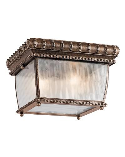 Elstead Lighting Kichler Venetian Rain 2 Light Outdoor Flush Mounted Ceiling Light In Brushed Bronze Finish